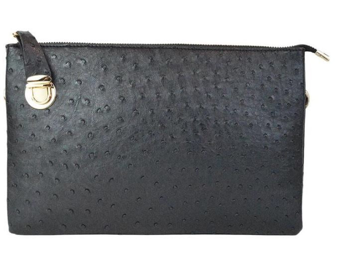 Large Black Faux Clutch w/Tassel - The Kemble Shop