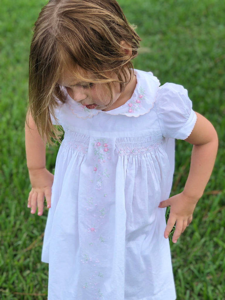 Girls White Flower Dress - The Kemble Shop