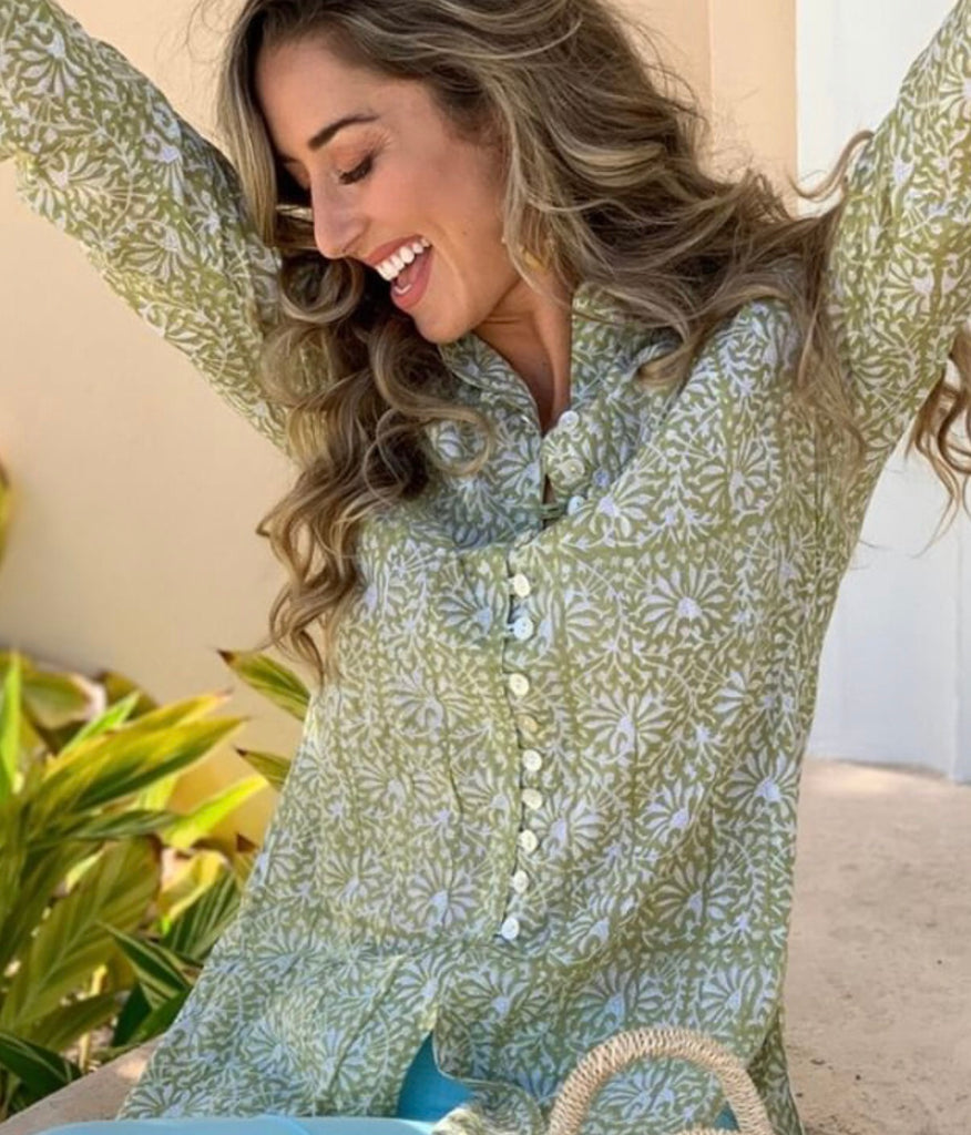 Green Meadows Floral Palm Beach Tunic - thekembleshop-2