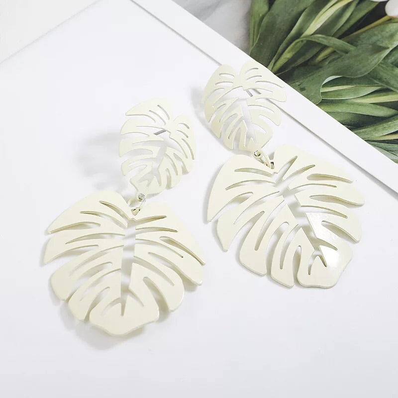 White Leaf Earrings - The Kemble Shop