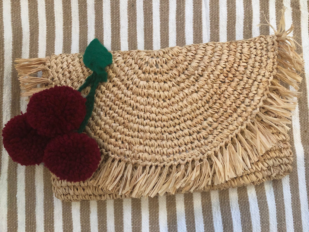 Rattan Woven Half Moon Tote w/Fruit Pom Poms - The Kemble Shop