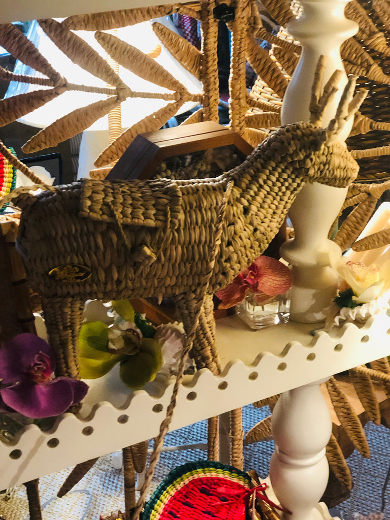 Straw Reindeer Handbag - The Kemble Shop