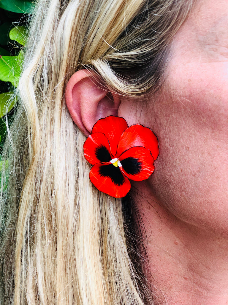 Red Large Pansy Earring - The Kemble Shop