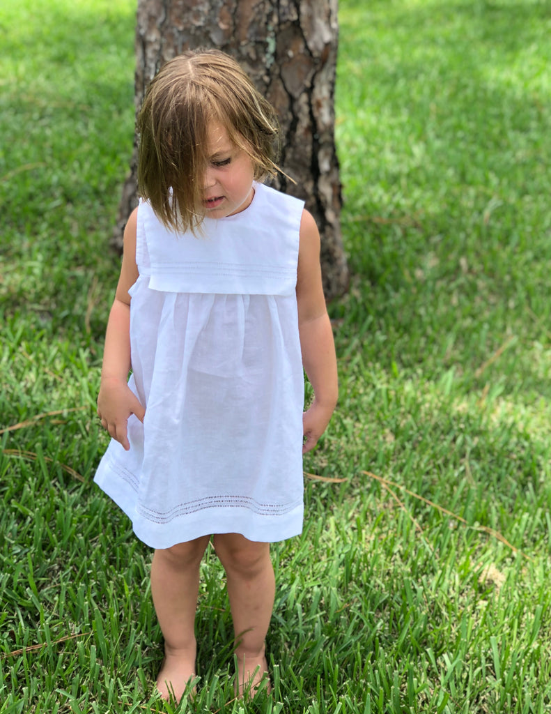 Girls White Linen Dress w/front Sailors Collar - thekembleshop-2