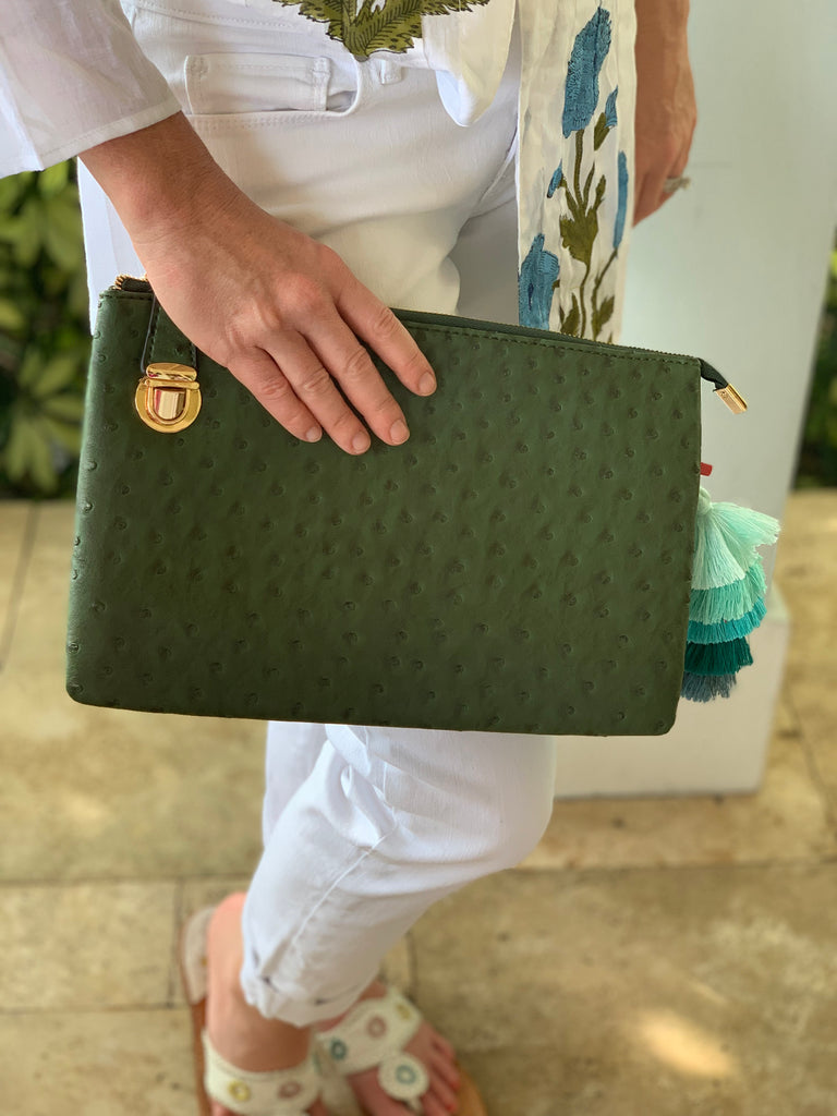 Evergreen Large Faux Ostrich Clutch w/ Tassel - The Kemble Shop