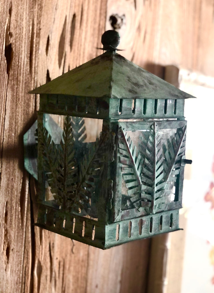 Copper Verdigris Palm Tree Wall Sconce - The Kemble Shop