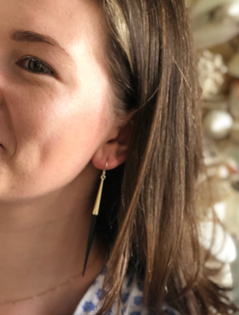 Natural Horn Threader Earrings - thekembleshop-2