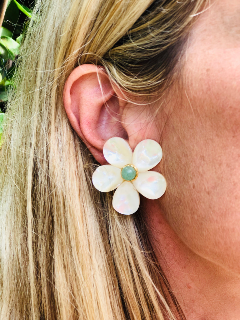 Polly Large Green Gold Rim Earrings - The Kemble Shop