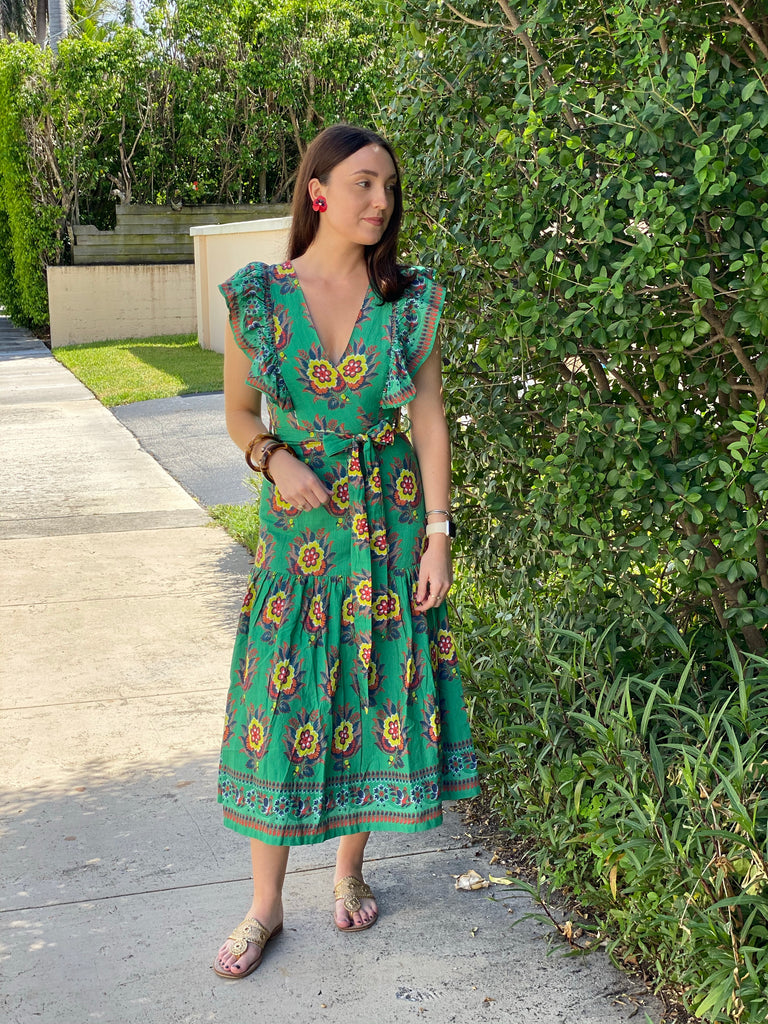 Palm Green Flower Print Chand Dress - The Kemble Shop