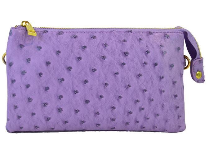 Violet Small Faux Ostrich Clutch w/Tassel - The Kemble Shop