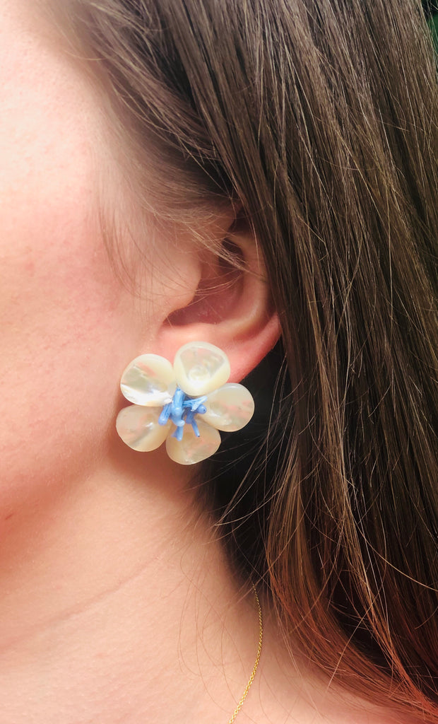 Polly Blue Coral Earrings - thekembleshop-2