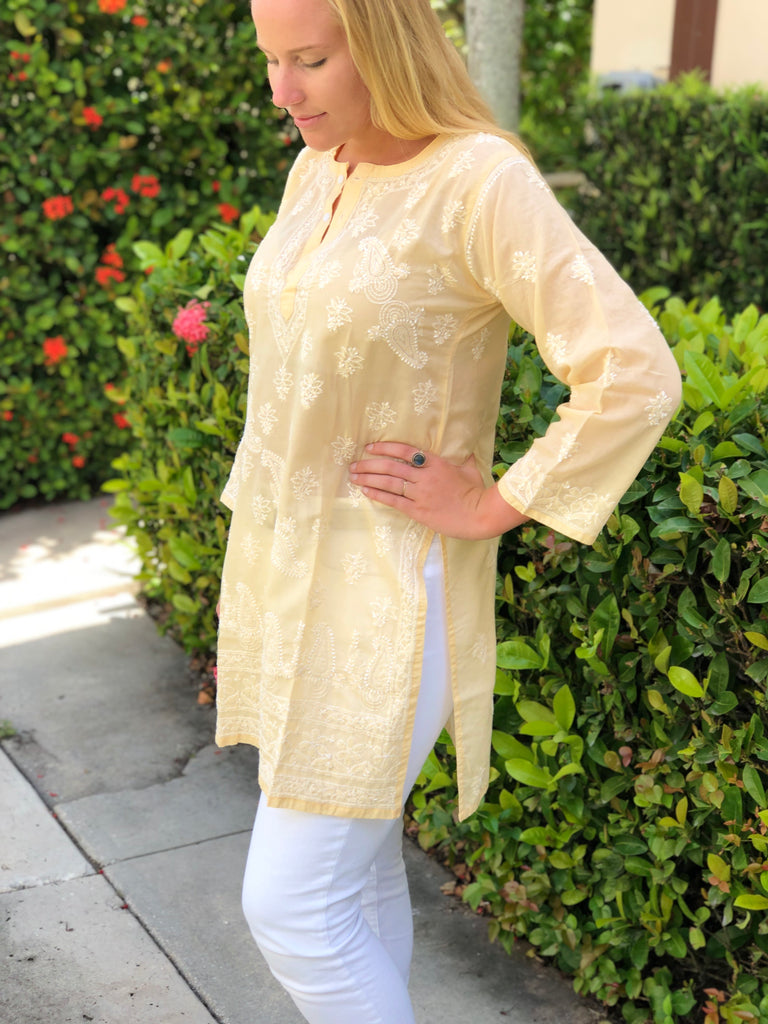 Light Peach Embroidered Tunic - The Kemble Shop