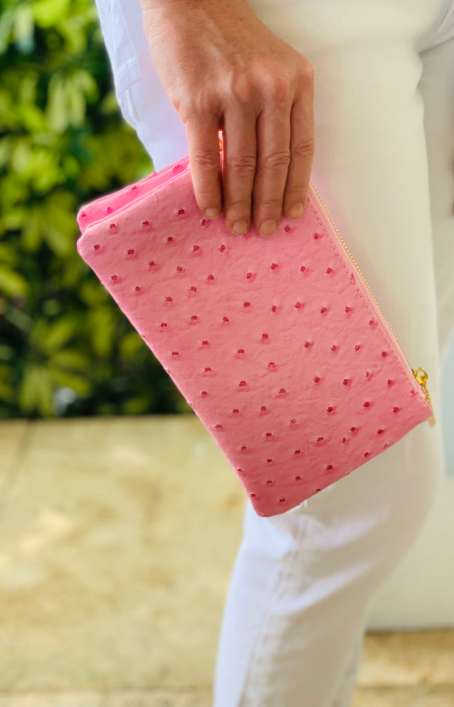 Pink Small Faux Ostrich Clutch with Tassel - thekembleshop-2