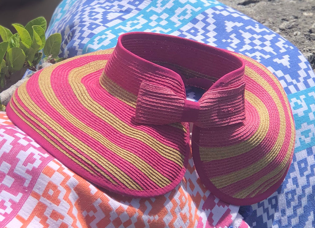 Natural Raffia and Pink Striped Visor - thekembleshop-2