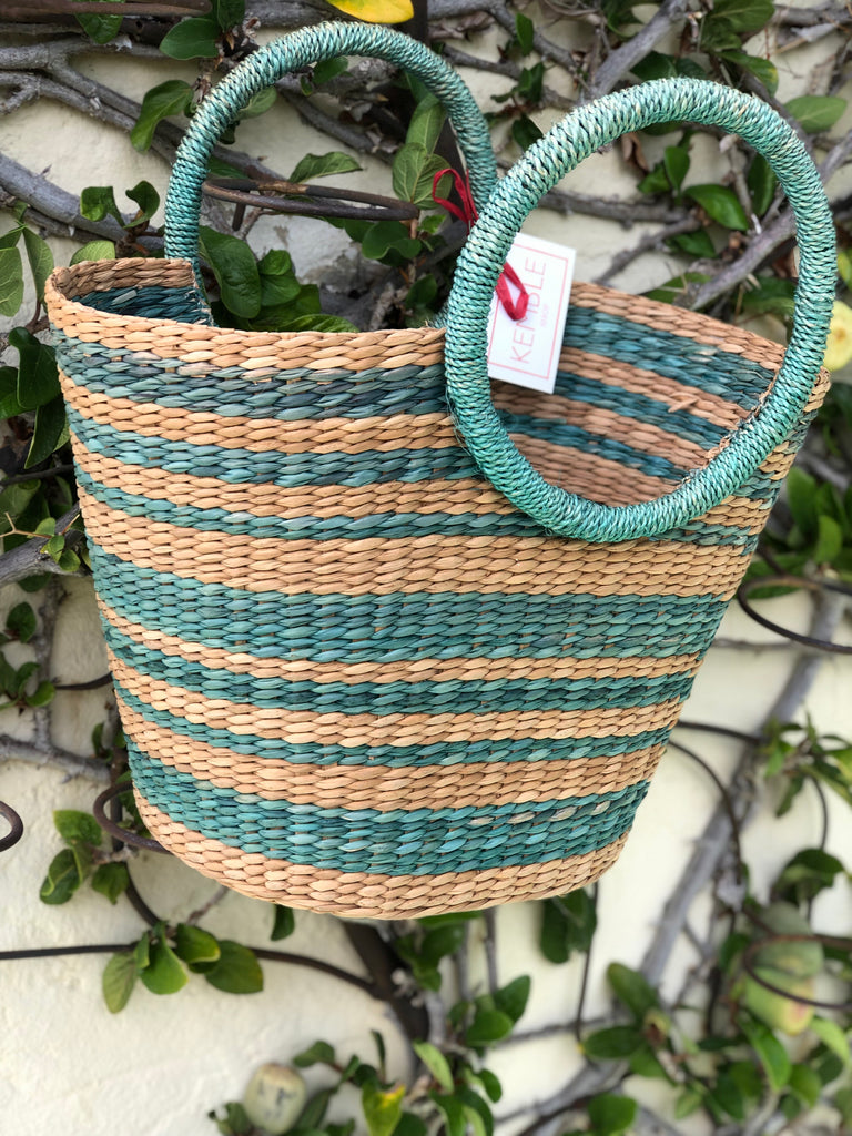 Green and Natural Striped Grass Woven Tote - The Kemble Shop