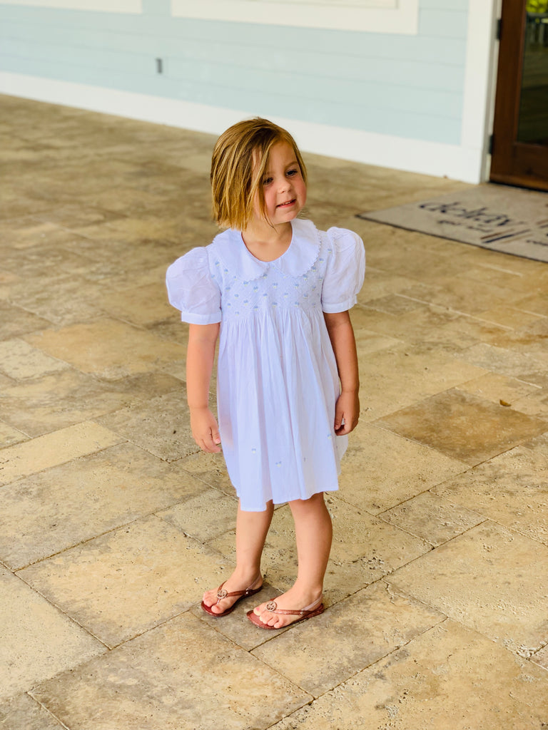 Girls Blue Sky Smocked Dress - The Kemble Shop