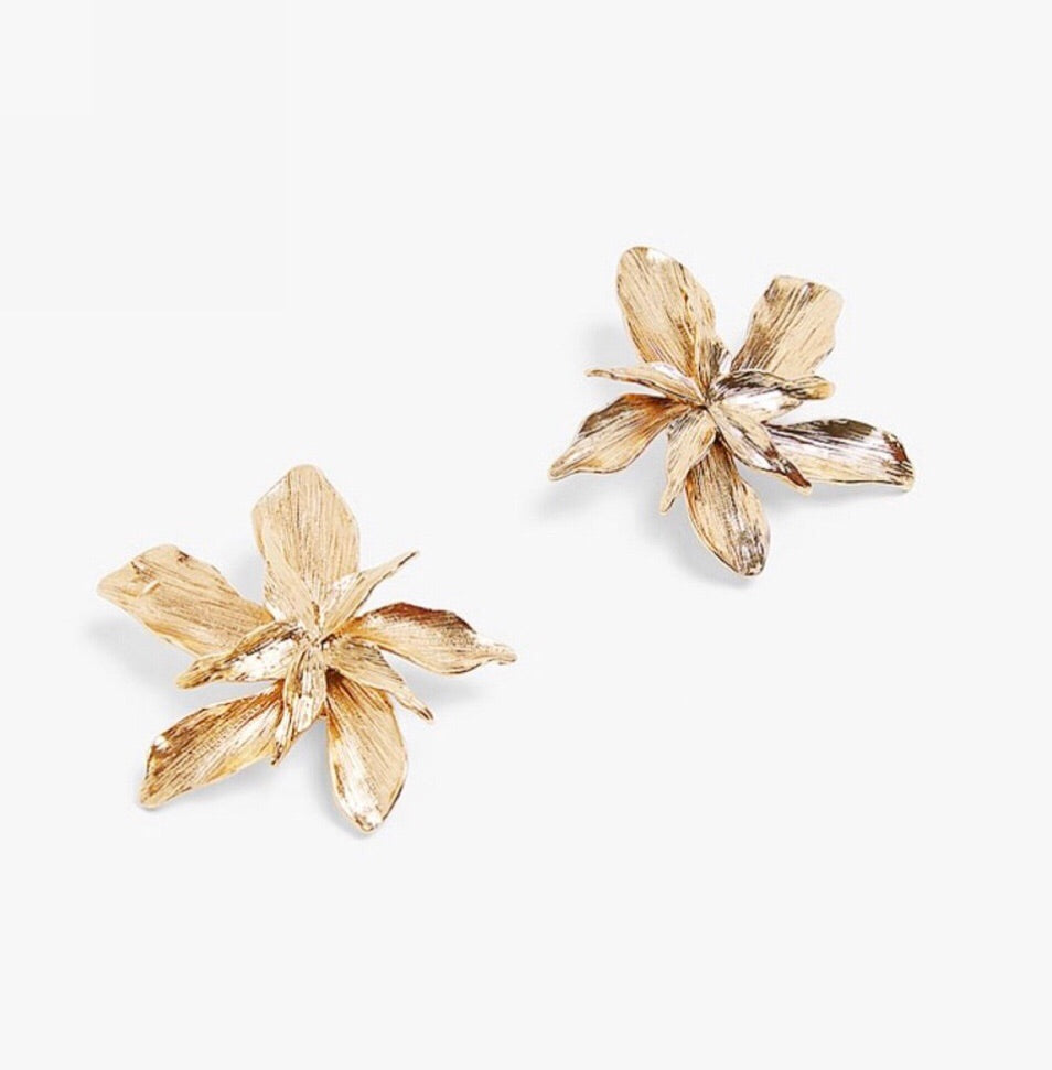 Gold Flower Fantasy Earrings - The Kemble Shop