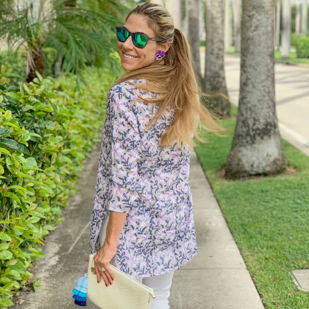 Purple and Blue Paisley Palm Beach Tunic - The Kemble Shop