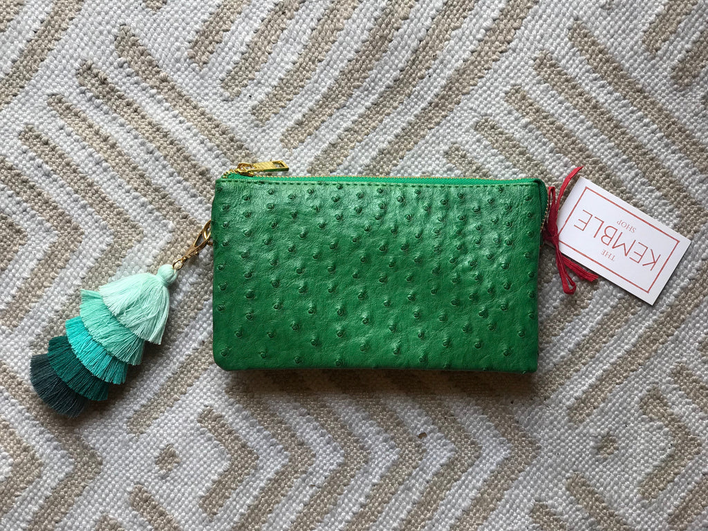Kelly Green Small Faux Ostrich Clutch w/Tassel - The Kemble Shop