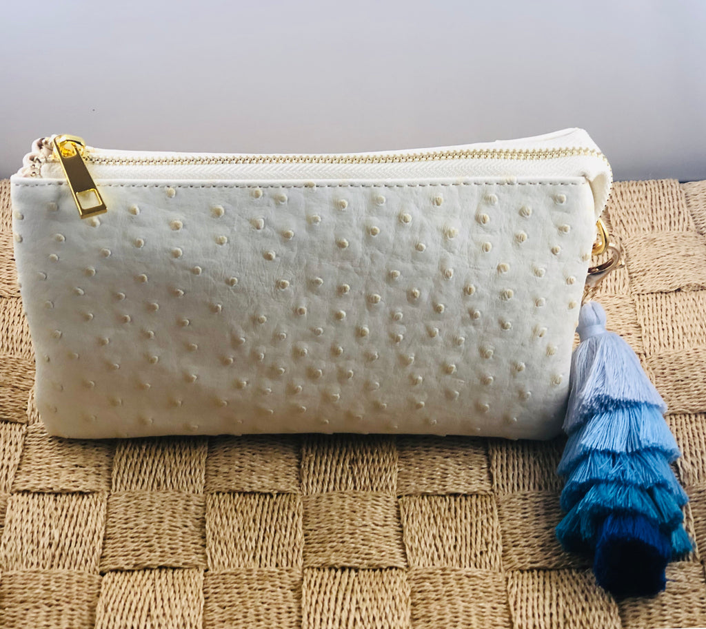 Cream Small Faux Ostrich Clutch w/Tassel - The Kemble Shop