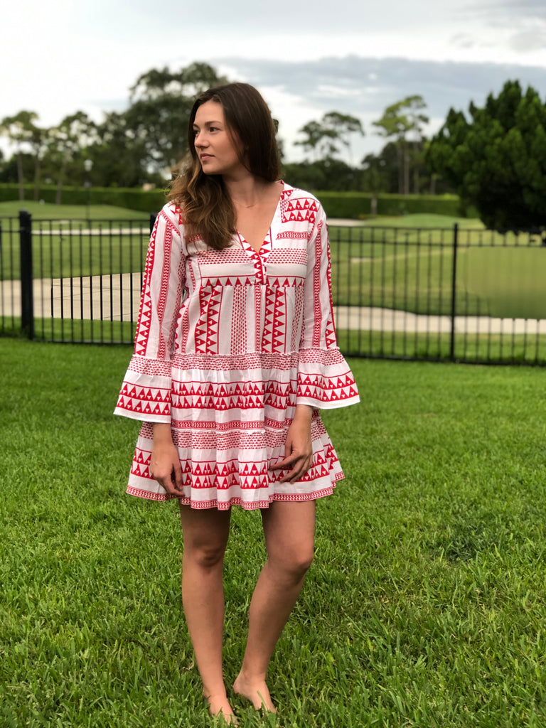 Peyton Dress Red/White - The Kemble Shop