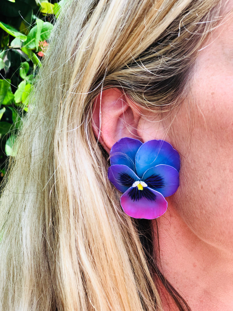 Purple and violet Large Pansy Earrings - The Kemble Shop