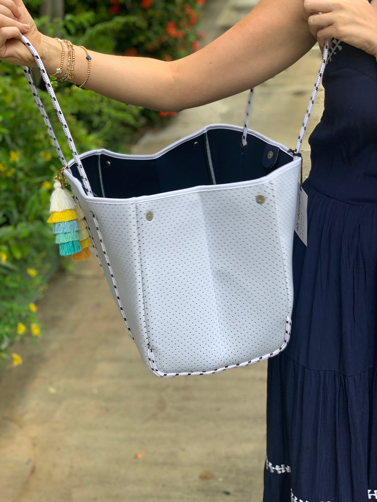 Dove White Perforated Neoprene Beach Tote w/Tassels - The Kemble Shop