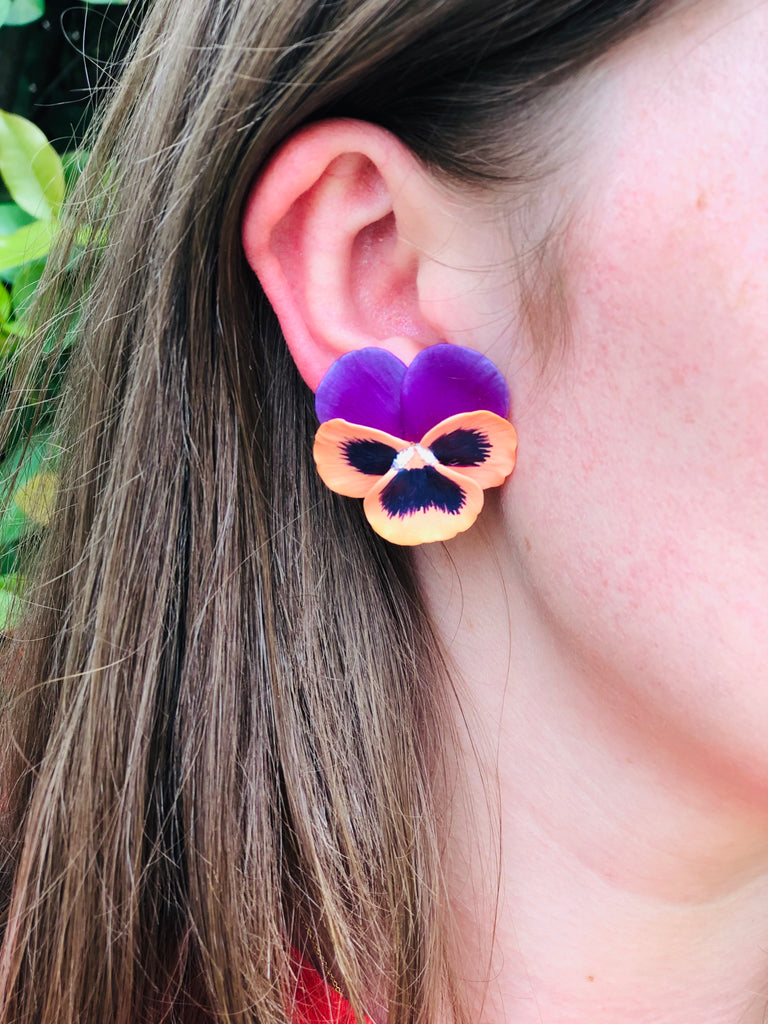 Coral and Purple Medium Pansy Earring - The Kemble Shop