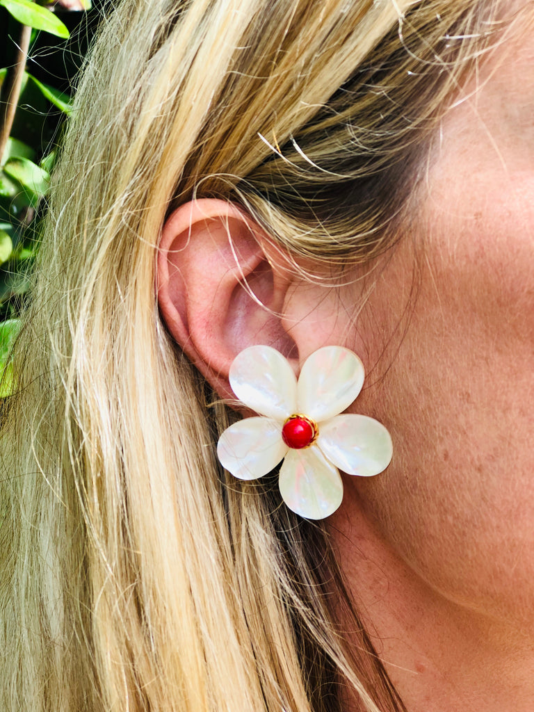 Polly Large Red Bead Earrings - The Kemble Shop