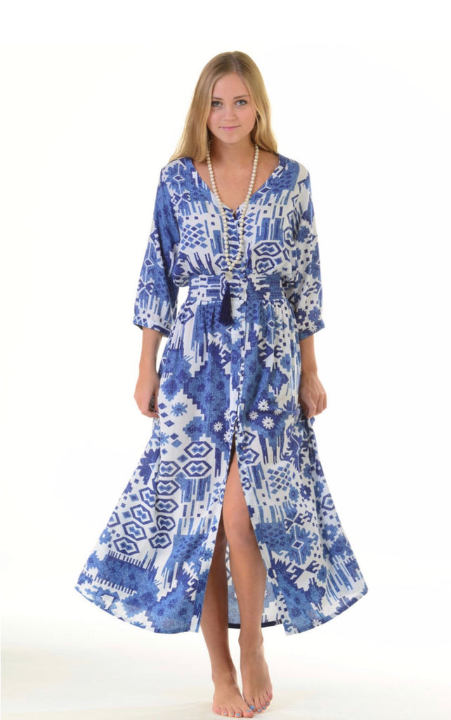 Indigo Ikat Kelsey Dress - Walker & Wade - The Kemble Shop