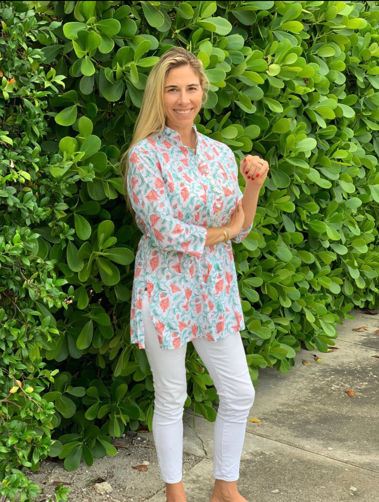 Tangerine Tulips Palm Beach Tunic - The Kemble Shop
