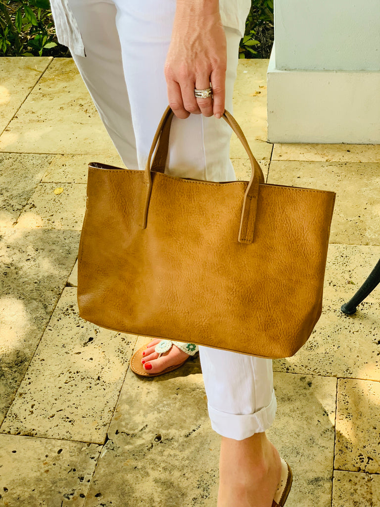 Sunned Camel Medium Half Tote - The Kemble Shop