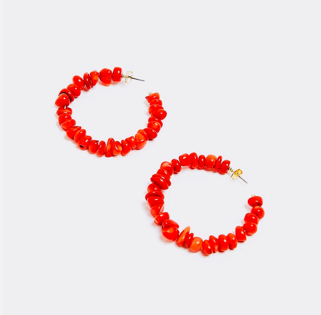 Red Coral Hoop Earrings - The Kemble Shop