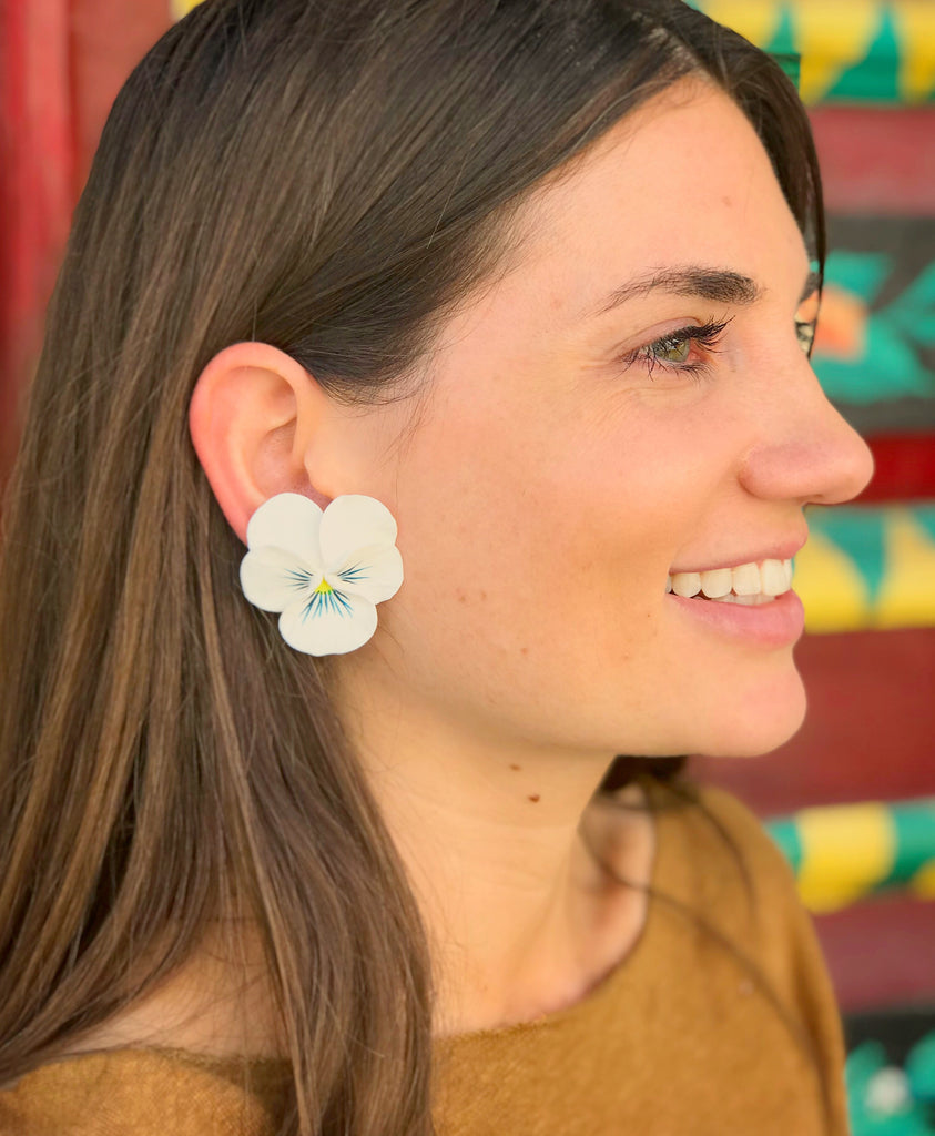 White Valley Medium Pansy Earring - The Kemble Shop