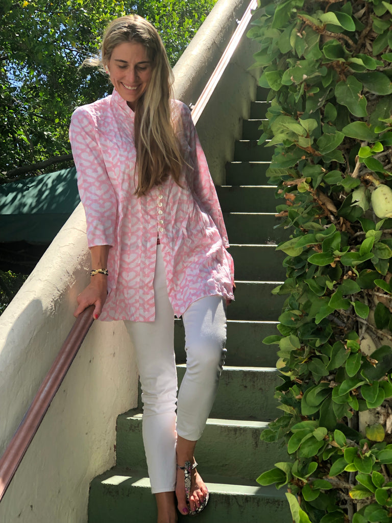 Light Pink Heart Palm Beach Tunic - The Kemble Shop