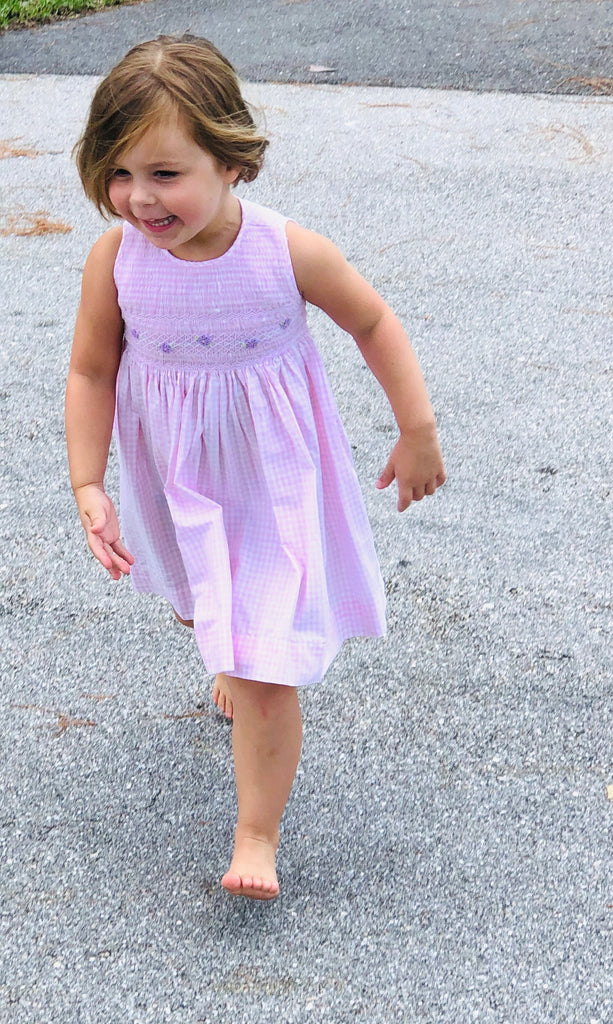 Girls Pink Smocked Floral Dress - thekembleshop-2