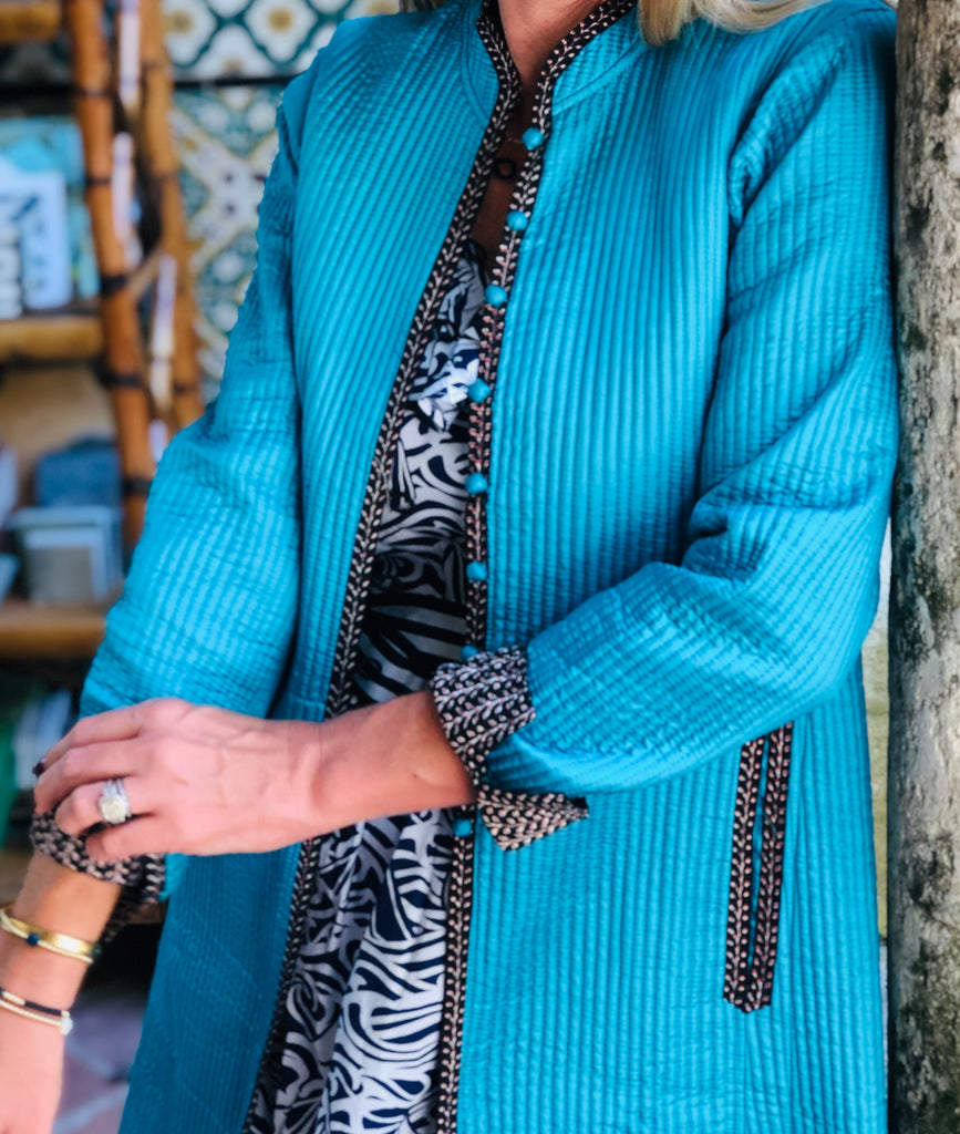 Turquoise Shade Reversible Long Quilted Jacket - The Kemble Shop