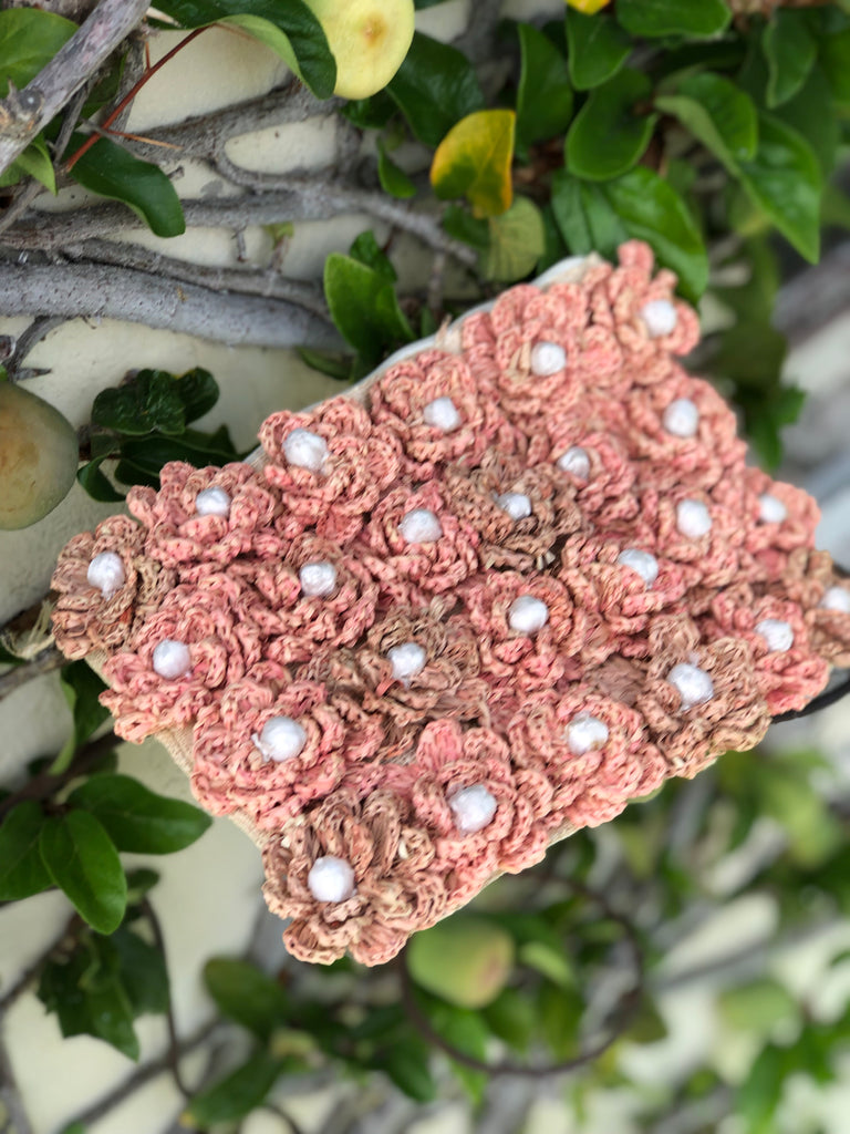 Flower Patch Natural Woven Clutch - The Kemble Shop