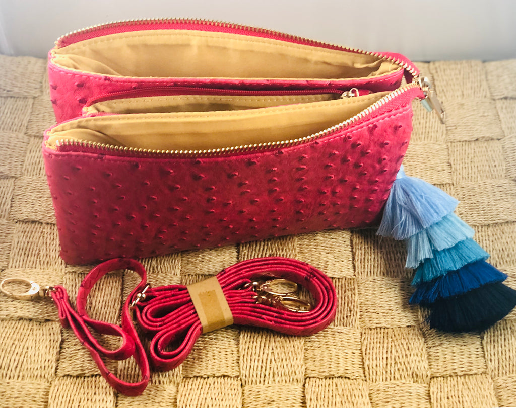 Deep Pink Small Faux Ostrich Clutch w/ Tassel - The Kemble Shop