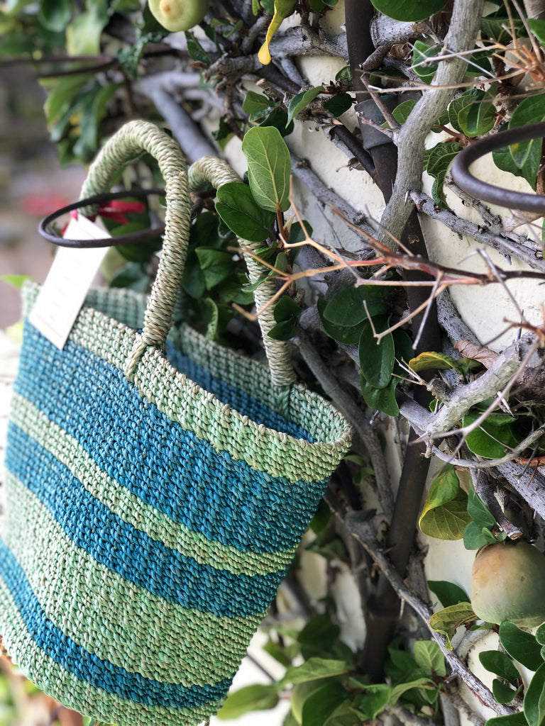Green and Blue Natural Woven Tote - The Kemble Shop