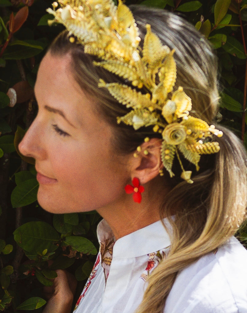 Red Floral Earrings - The Kemble Shop