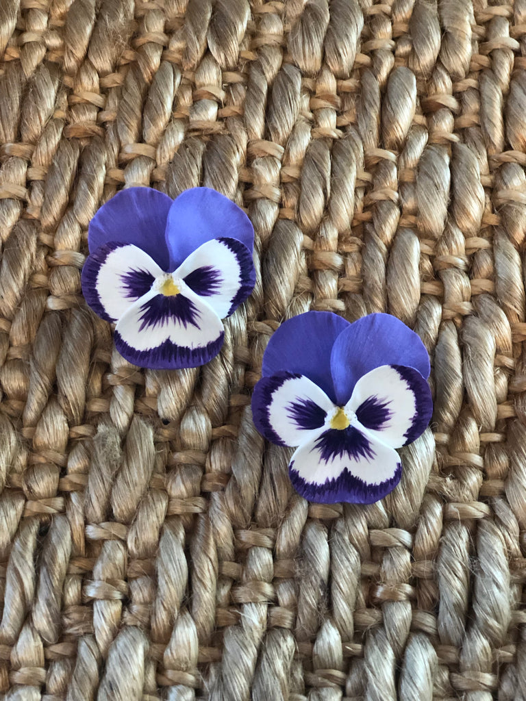 Purple Large Pansy Earrings - thekembleshop-2