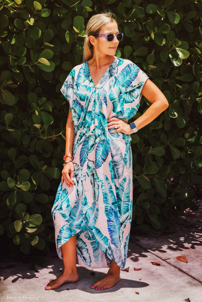 Banana Leaf Santorini Kaftan - The Kemble Shop