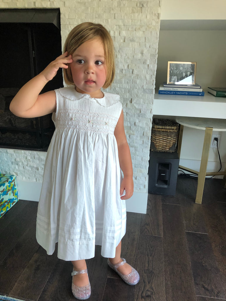 Girls White Sleeveless Smocked Floral Dress - The Kemble Shop