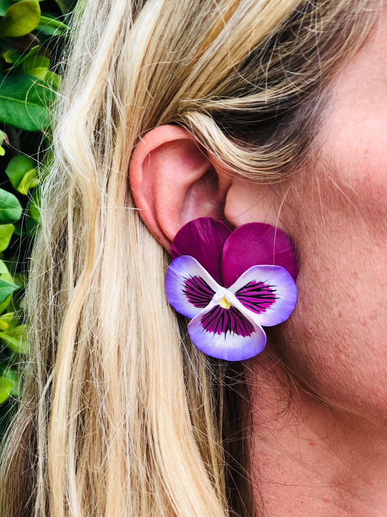 Magenta and Purple Large Pansy Earring - The Kemble Shop