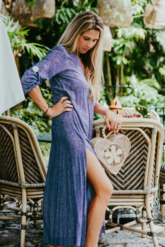 Seychelles Dress-Kaftan / Deep Indigo - Walker & Wade - The Kemble Shop
