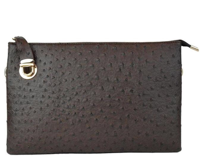 Chocolate Large Faux Ostrich Clutch w/ Tassel - The Kemble Shop