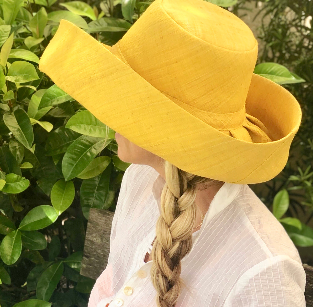 "5"" Yellow Palm Beach Classic Raffia Hat - The Kemble Shop"