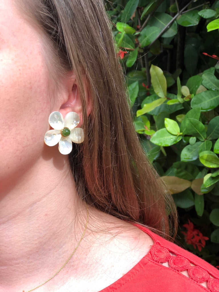 Polly Green Gold Rim Earrings - The Kemble Shop