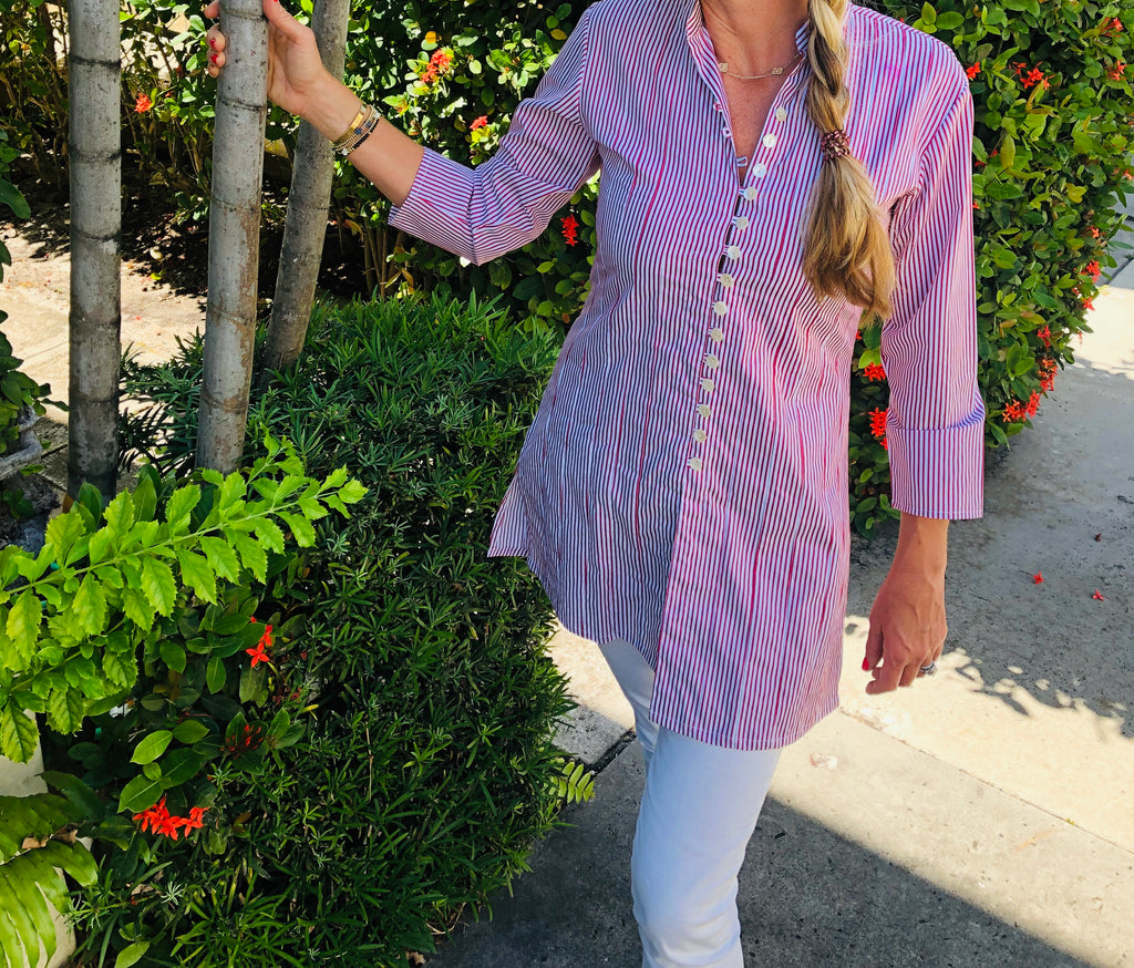 Red and White Striped Palm Beach Tunic - The Kemble Shop